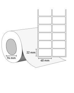 Bild TT Klebeetiketten auf Rolle 40x22 mm, 2-bahnig, 76 mm Kern