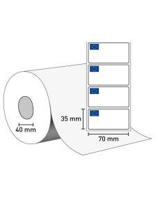 Etiketten auf Rolle 70 x 35, 40 Rollenkern mit EU Logo