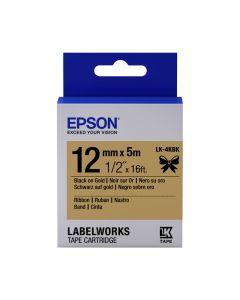 Epson Etikettenkassette Satinband schwarz auf gold