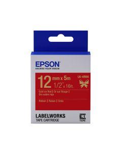 Epson Etikettenkassette Satinband gold auf rot