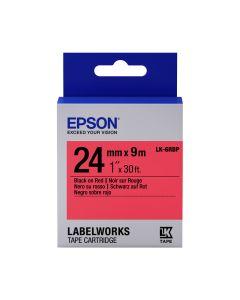 Epson Etikettenkassette pastell, schwarz auf rot