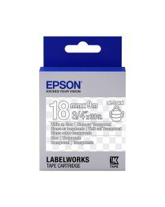 Epson Etikettenkassette transparent, weiß auf transparent