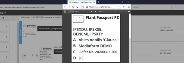 Plant Passport as a PDF - Print preview