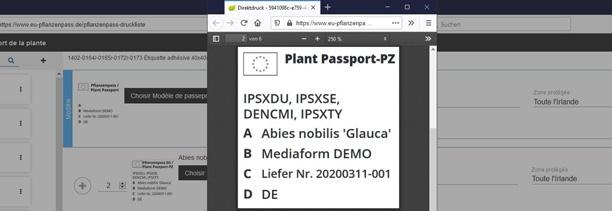 Passeport Phytosanitaire Européen-la mise en page au format PDF