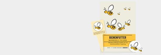 Bienen-Artikel-Sortiment von Güse, Bienenstecker, Schilder und Bienen-Aufkleber